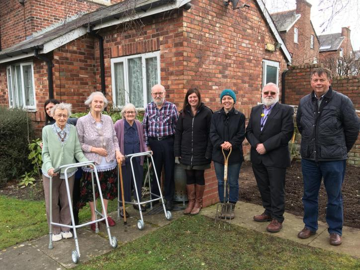 Residents and gardeners at Richard House