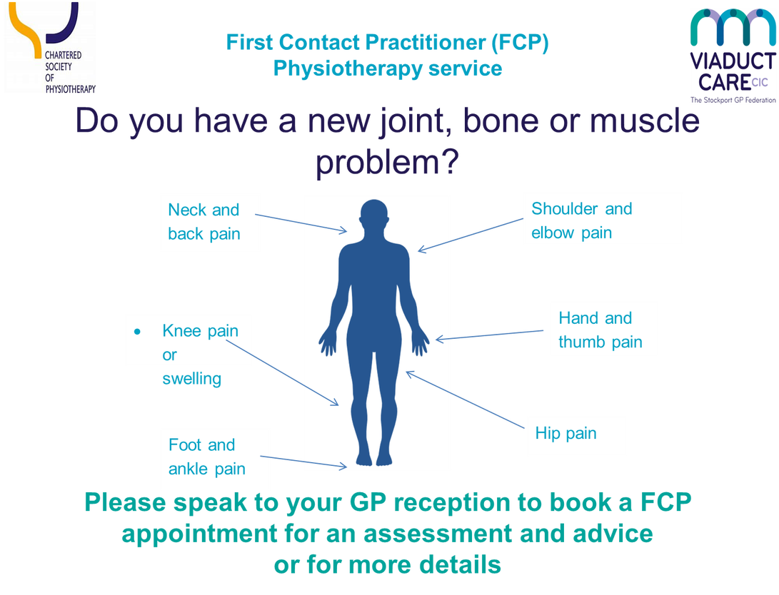 First contact practitioner Physiotherapy service Do you have a new joint bone or muscle problem Neck and back pain shoulder and elbow pain knee pain or swelling hand and thumb pain foot and ankle pain hip pain please speak to your gp reception to book a FCP appointment for an assessment and advice or for more details